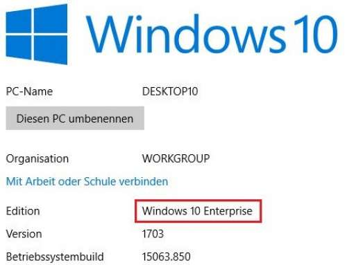 Windows 10 – Upgrade von Pro auf Enterprise